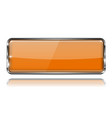 glass orange button with metal frame web 3d icon vector image vector image