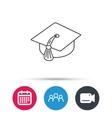 Graduation cap icon Diploma ceremony sign vector image vector image