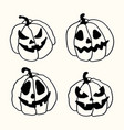 halloween cartoon outline spooky face pumpkins set vector image vector image