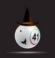 halloween white bingo lottery ball on black vector image vector image