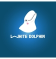 Head white dolphin vector image