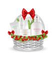 holiday gift realistic christmas basket vector image vector image