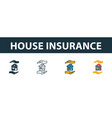 house insurance icon set four elements in vector image
