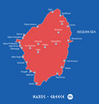 island of naxos in greece red map vector image vector image