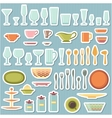 Kitchen utensils and cookware icons set vector image vector image