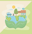 leaves holding planet and save energy design vector image