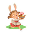 little girl smile running hunting decorative vector image vector image