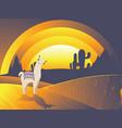 llama with cacti vector image vector image