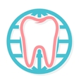 logo combination of world and tooth vector image vector image