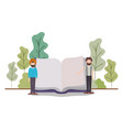 men with text book in landscape avatar character vector image vector image