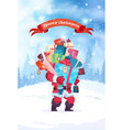 merry christmas greeting card santa holding heap vector image vector image