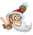 Monkey in Santa hat showing two fingers - gesture vector image vector image