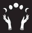 moon phases in hands witch vector image vector image