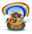 noahs ark with rainbow vector image vector image