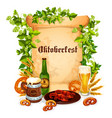 oktoberfest poster of beer snacks vector image vector image