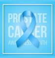 realistic blue ribbon symbol prostate cancer vector image vector image