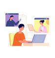 remote teamwork together virtual video call vector image vector image
