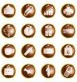 round brown high-gloss office buttons vector image vector image
