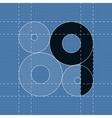 Round engineering font Symbol Q vector image vector image