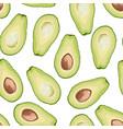 seamless pattern of avocado slice vector image