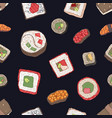 seamless pattern with sushi sashimi and rolls on vector image
