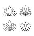 set of linear lotus icon sketch flower symbols vector image vector image
