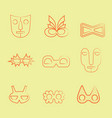 set of orange line art carnival and tribal masks vector image