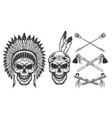 set skull in indian headwear vector image