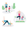 set with mother and kid doing sport exercises vector image