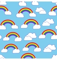 Sky clouds and rainbow seamless pattern vector image