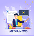 square flat banner media news on blue background vector image