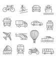 transport icons set on white background vector image