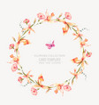 vintage floral round wreath with yellow vector image