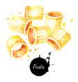 watercolor fresh italian pasta mezzi rigatoni vector image