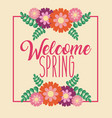 welcome spring greeting card celebration flowers vector image