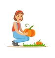 Woman Harvesting Pumpkins Farmer Working At The vector image vector image