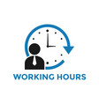 working hours icon design template isolated vector image vector image