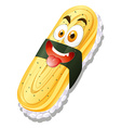 Sweet egg roll on rice vector image