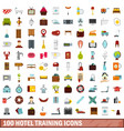 100 hotel training icons set flat style vector image vector image