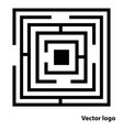 abstract maze logo flat black labyrinth icon isol vector image