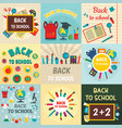 back to school banner concept set flat style vector image