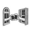 beer in hands from window sketch vector image vector image