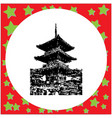 black 8-bit three storey pagoda in kiyomizu dera vector image vector image