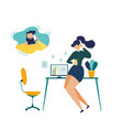 businesswoman calling husband flat concept vector image