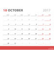calendar planner 2017 october week starts monday vector image vector image