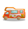 camping bus equipped with modern furniture vector image