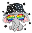 cartoon elephant in panama hat isolated on a vector image
