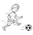 cartoon of boy playing football soccer vector image vector image
