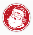 christmas red round sign stamp with silhouette of vector image vector image