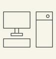 computer thin line icon pc vector image vector image